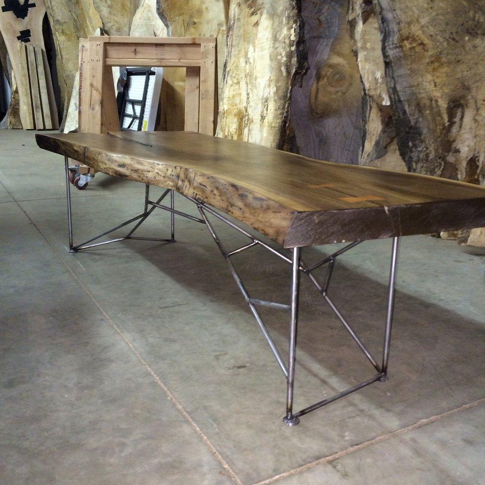 Live edge black walnut coffee table custom steel legs