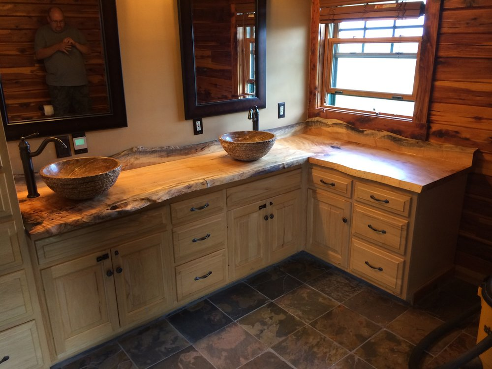 Live edge hard maple bathroom countertop