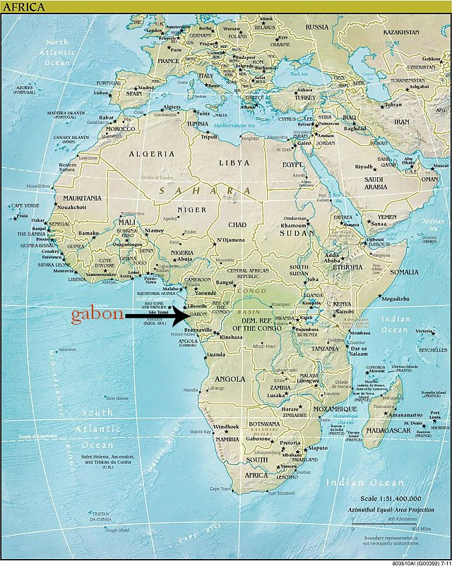 Location of Gabon in West Africa