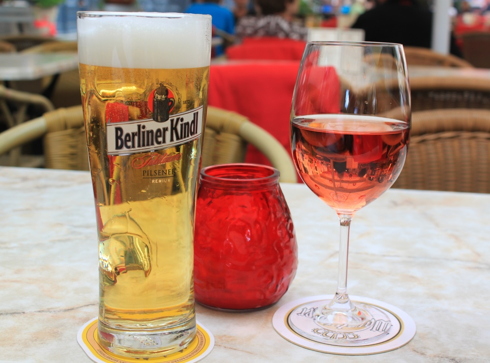 Before we left, we enjoyed German beer and a rose while sitting at an outdoor cafe.