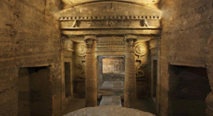 Picture inside the Catacomb of Kom El Shokafa. (Photo via Egypt Tourism Authority)