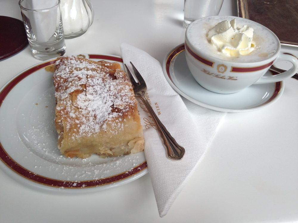 Apple Strudel & traditional Viennese coffee at Cafe Sacher