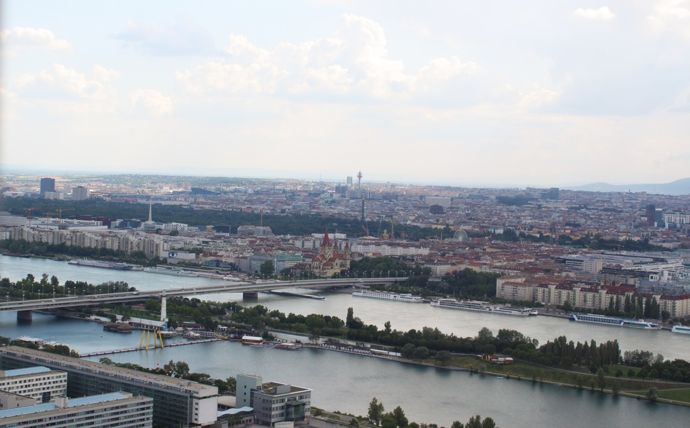 View of Vienna atop the Danube Tower