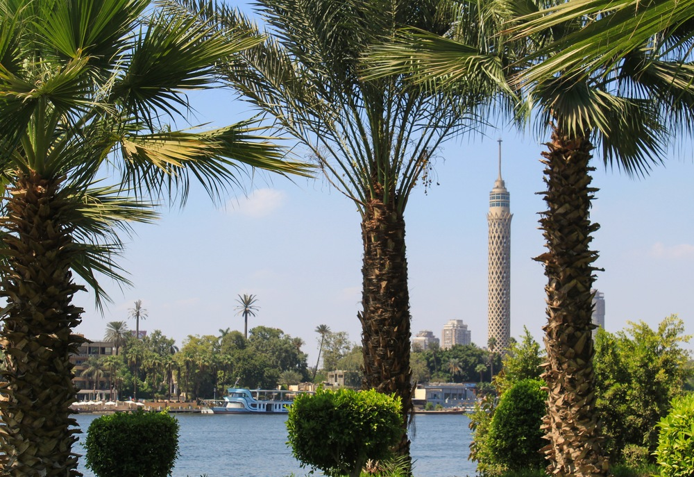 View of the Cairo Tower along the Nile River