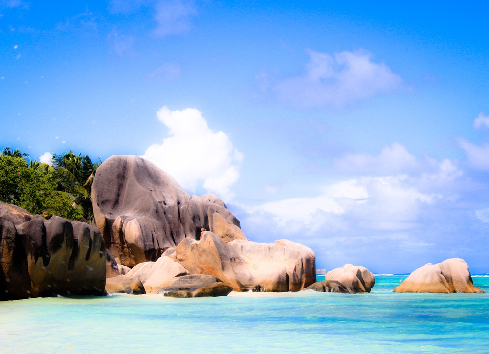 Boulders on a secluded beach on La Digue Island