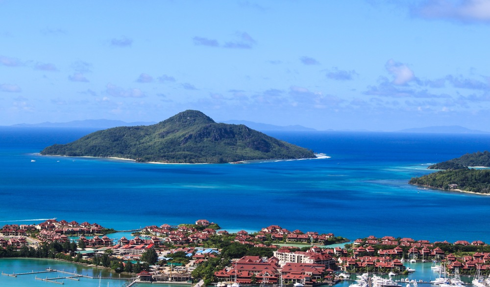 View of Eden Island from lookout point on Mahe Island
