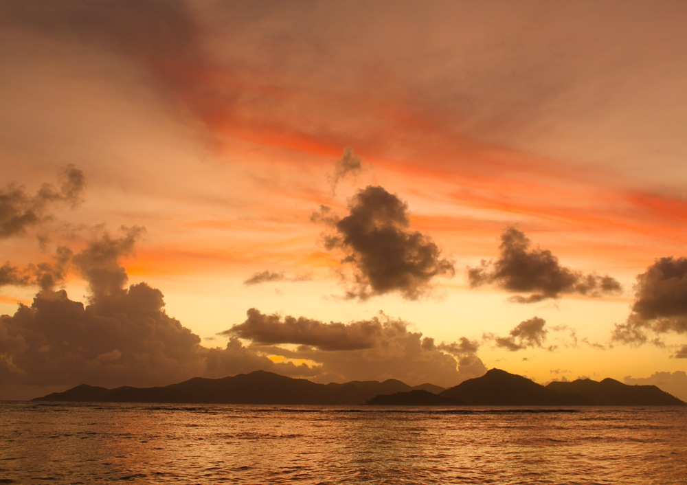 Sunset over La Digue Island