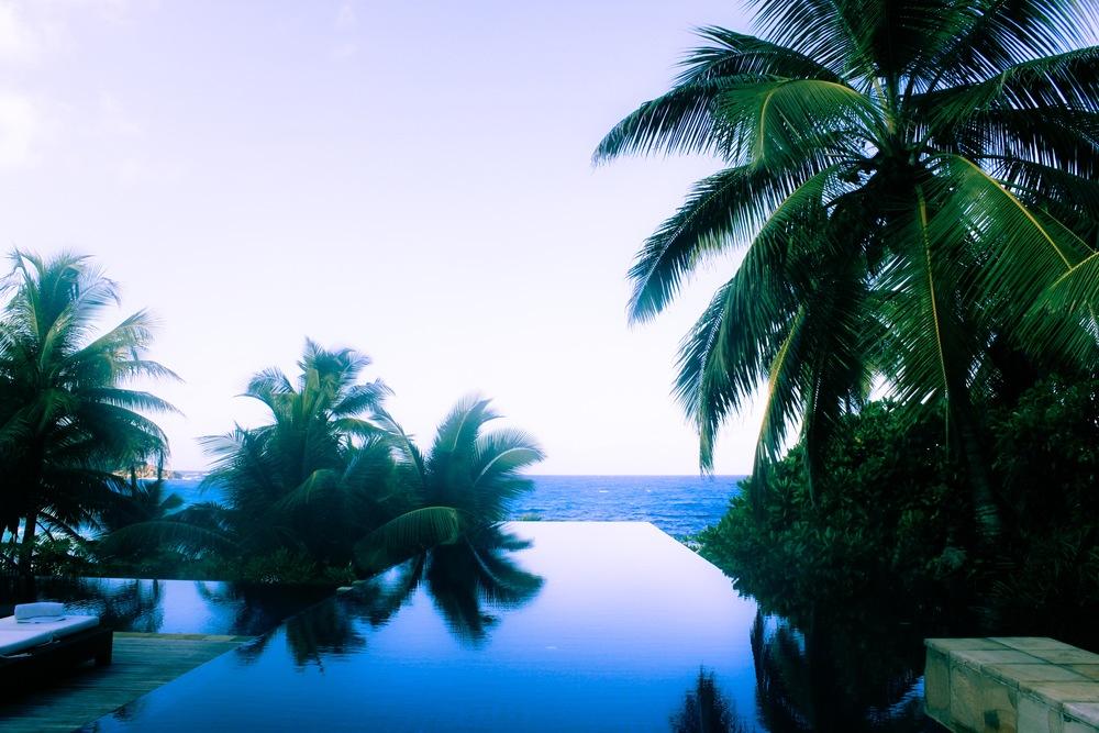 Infinity pool at the Banyan Tree Resort on Mahe Island