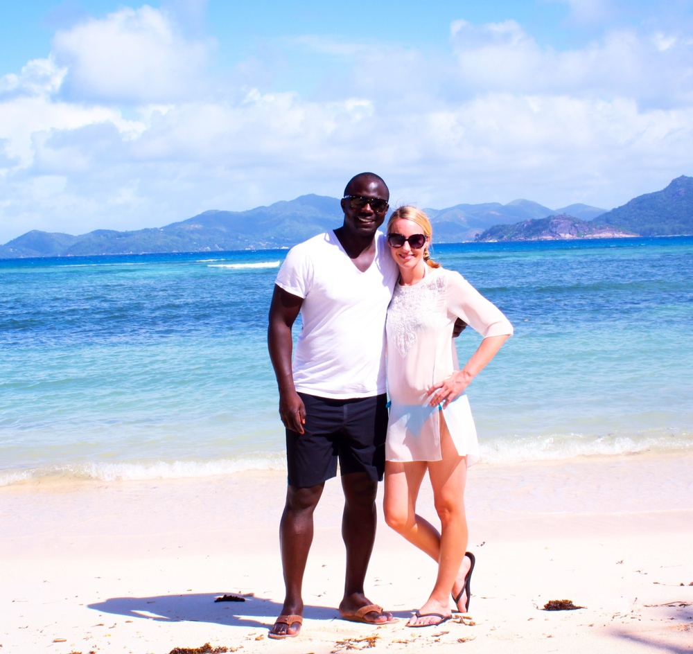 STT and I enjoying the beach on La Digue Island