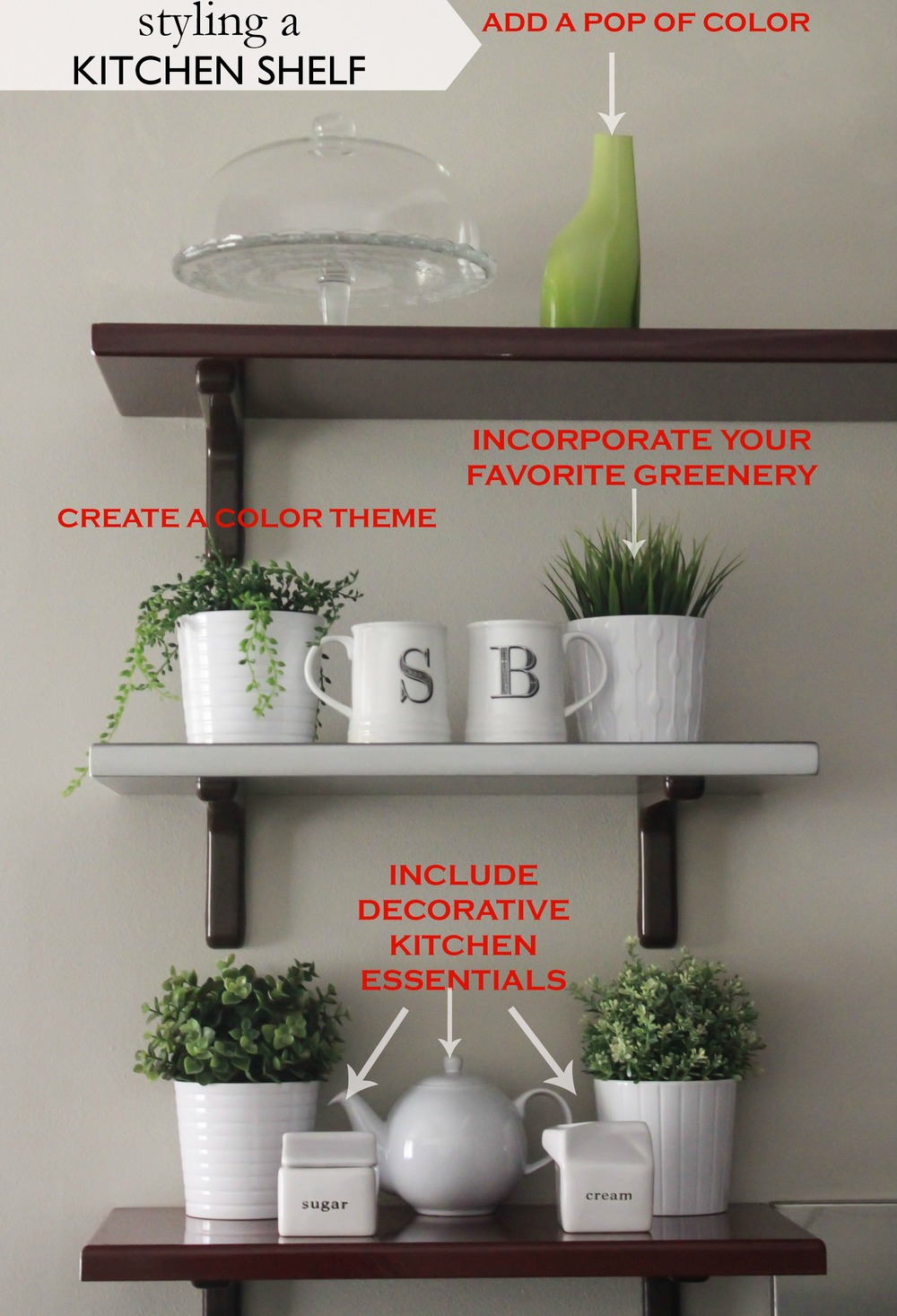 Cake Stand with Lid-Ikea/Plants & Plant Pots-Ikea/Vase-Ikea/Creamer & Sugar Containers-Crate & Barrel/Coffee Mugs-similar Anthropologie/Teapot-similar Crate & Barrel