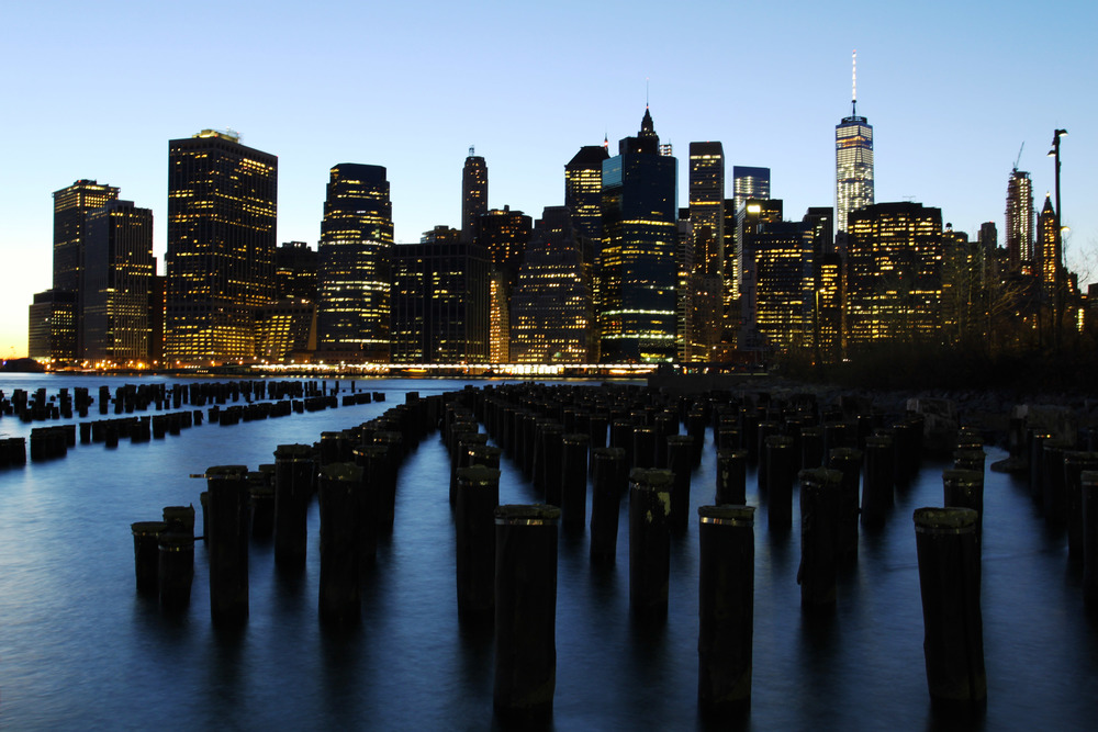 Photograph of new york city skyline taken during the blue hour