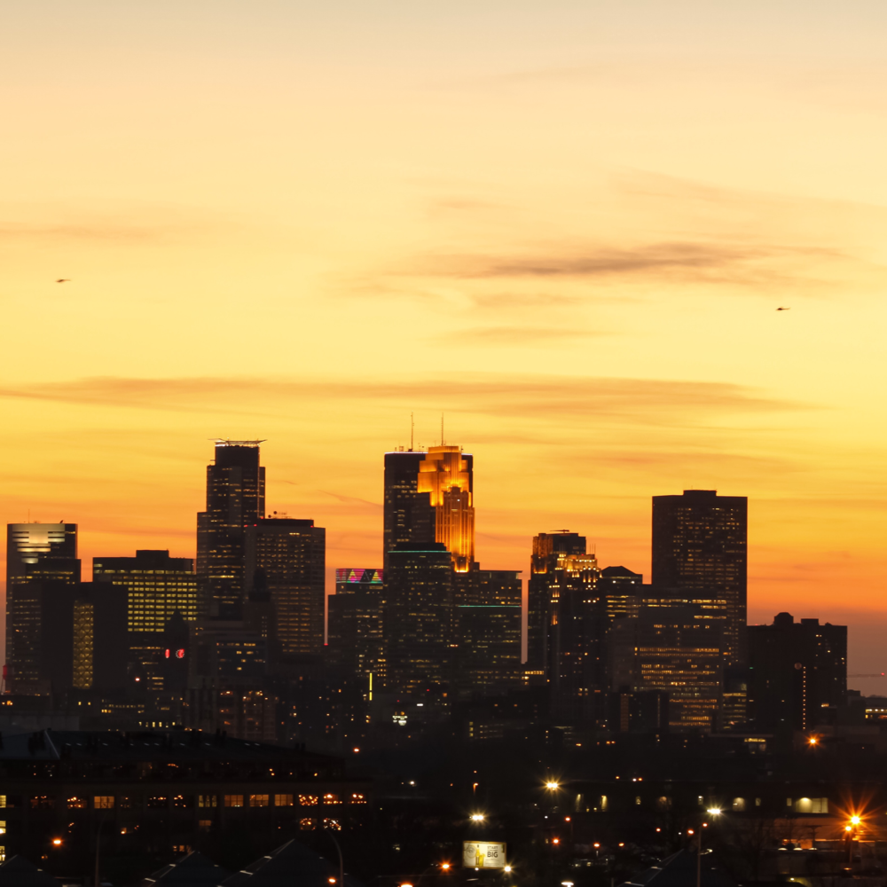 Sunset View of Downtown Minneapolis from Northeast Minneapolis