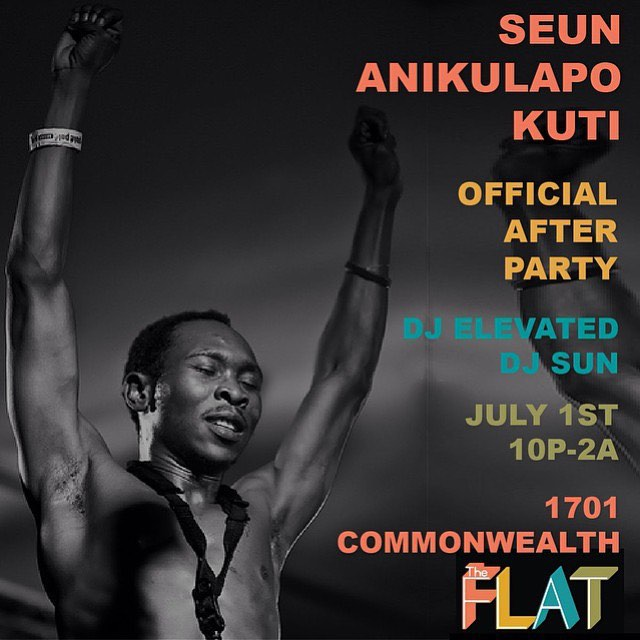 Tonight! SEUN KUTI Official Aftetparty (@shotsdboss) will be at @theflathtx. @djelevated will be in the mix spinning the best in afrobeat along side @djsun and resident @supaneil. No cover. Gonna be crazy. #afrobeat #Houston #milleroutdoor #culture #theflat #djelevated #felakuti #seunkuti