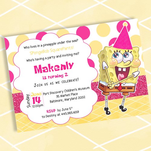 Spongebob Squarepants Birthday Invitation DIY Sbex