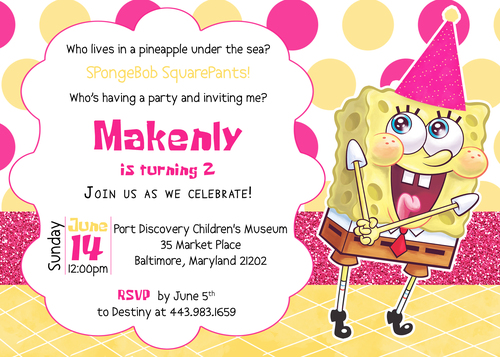 Spongebob Squarepants Birthday Invitation DIY