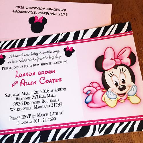 Eleven eleven pixel productions minnie mouse and zebra print baby minnie mouse and zebra print baby shower invitations filmwisefo