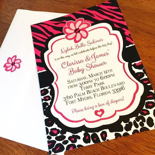 Eleven eleven pixel productions hot pink zebra and leopard print hot pink zebra and leopard print baby shower invitations filmwisefo