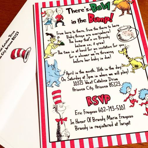 Eleven Eleven Pixel Dr Seuss Baby Shower Invitations