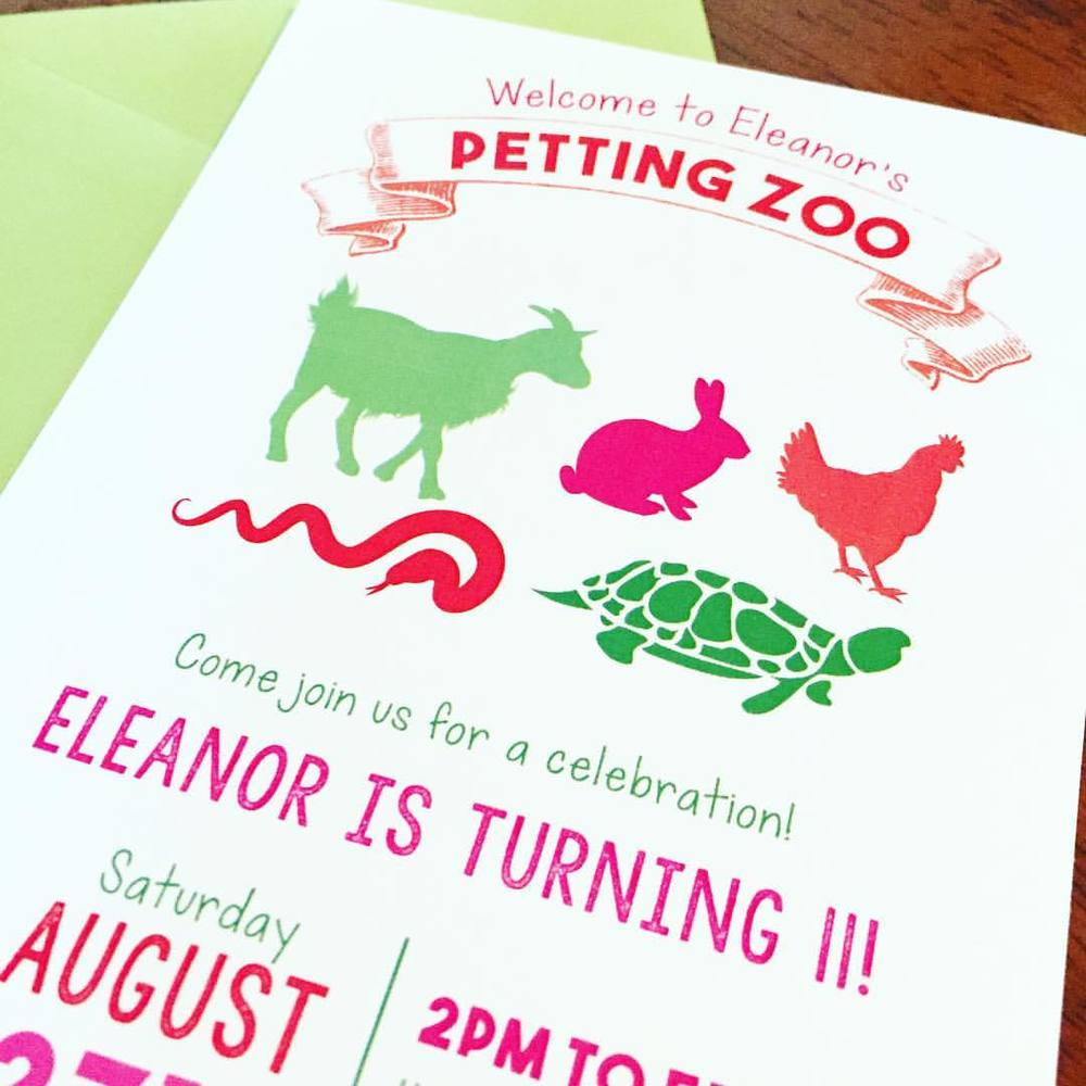 Eleven Eleven Pixel Productions-Petting Zoo Birthday Invitations