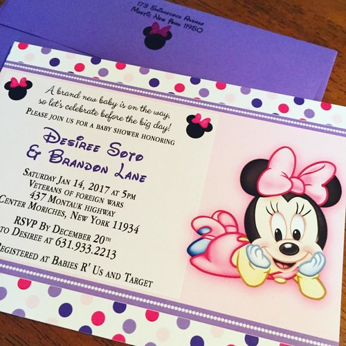 Eleven eleven pixel productions minnie mouse and polka dot baby minnie mouse and polka dot baby shower invitations filmwisefo