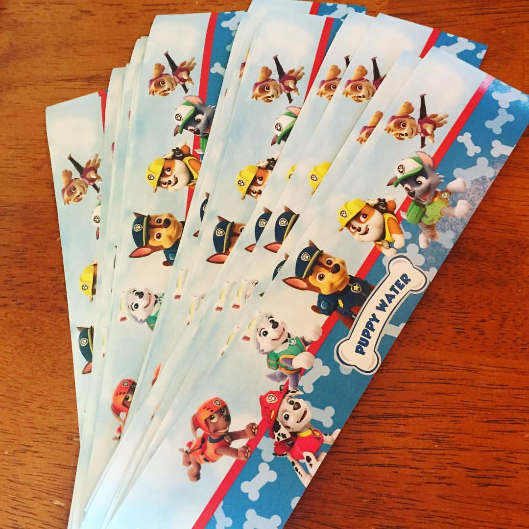 20 Personalized Paw Patrol water bottle labels