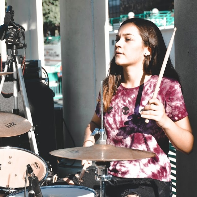 Meet Anastasia Skye Bolter the band's drummer! She is 17 years old and the band's newest member. Artists she draws inspiration from are Melanie Martinez, Alessia Cara, System of a down, and Coheed and Cambria. Her hobbies include playing piano, singing, drumming, and spending time with her family.
