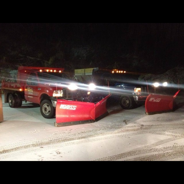 our trucks with lights on in the snow