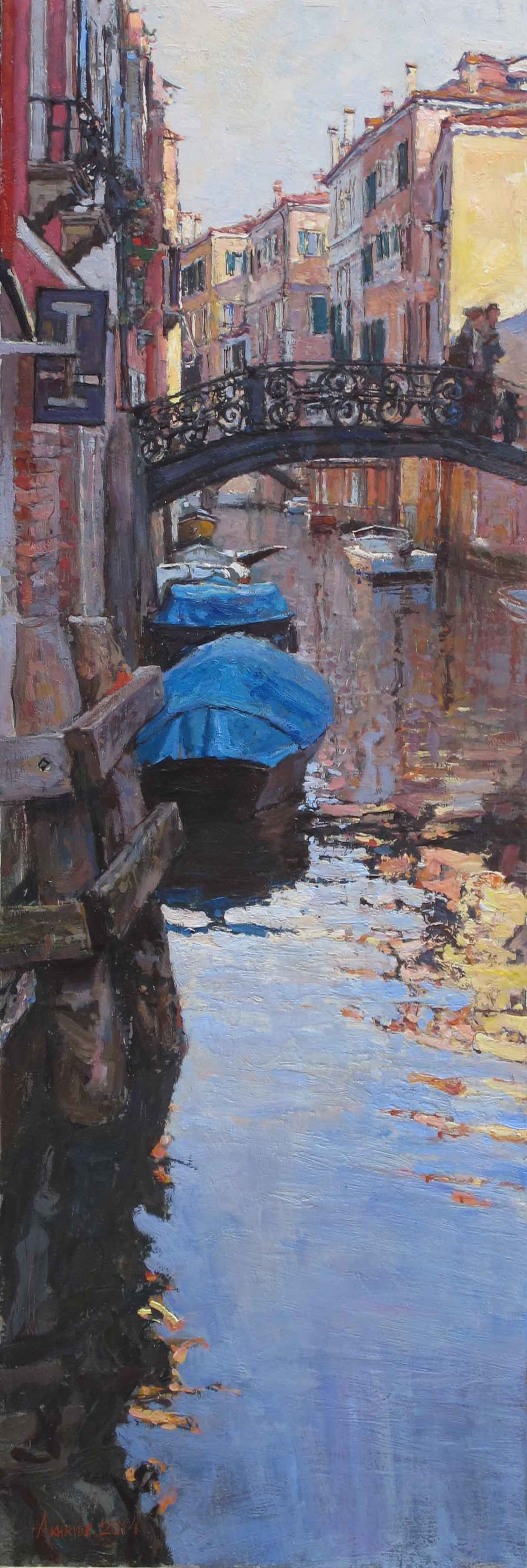 """Fragments of Venice,"" Daud Akhriev, Oil on Board, 23.5 x 7.8 inches, at Beverly McNeil Gallery, Birmingham."