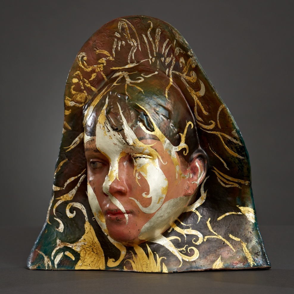 Clay, raku firing, encaustics, gold, oil paints / 11 in tall / Available