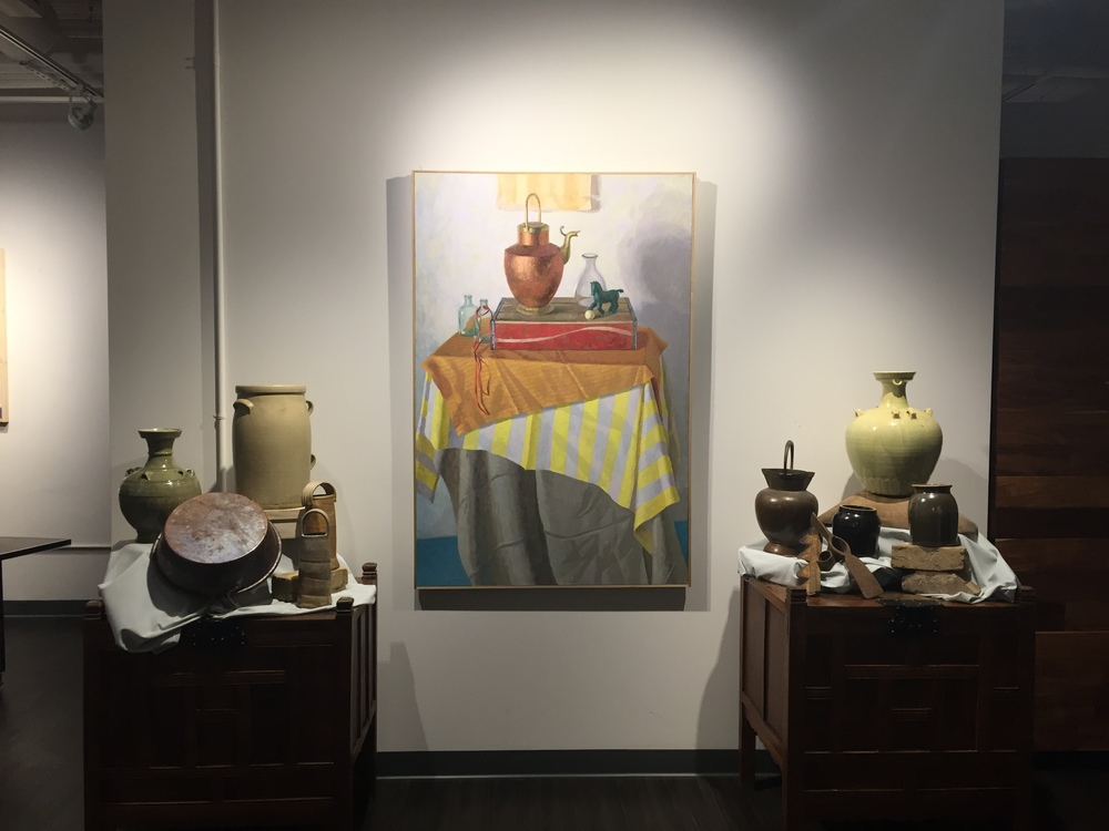 Melissa Hefferlin's still life in the entry of The Patten Group, with vases arranged by Avery Patten
