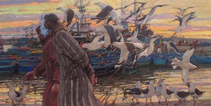 """Harbor Conversation,"" Daud Akhriev, Oil on Board 12 x 23 inches"
