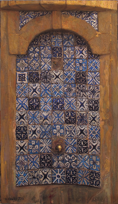 Oil on Wood Panel / 15.75 x 8.75 inches / Available  Debuted at the 5th AnnualJuried Exhibition of Contemporary Islamic Art in Dallas, Texas, September, 2016