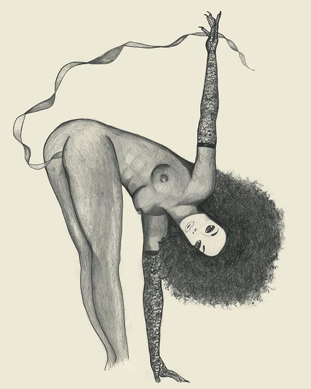"Narcissister ~ pencil/ paper illustration ~ I am such a fan of #narcissister and I used to assist her with her costumes. This is a portrait of her doing her performance ""Every Woman"" where she does a reverse strip tease pulling her entire outfit out of her vagina and ending the performance fully clothed #iconic • • • • • • #art #illustration #hirsuteheroines #drawing #sketch #performanceart #feministart #burlesque #pinup #fashion #lgbt #queer"