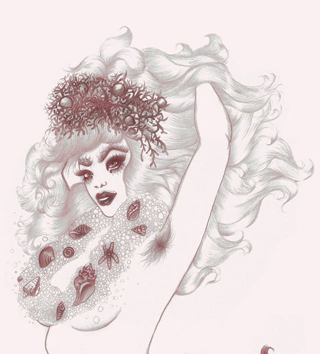 Detail of Smizely Siren ~ pencil 🧞‍♀️sketch from Hirsute Heroines Volume 2 ~ #mermaid #pinup #burlesque #illustration #queer #bodypositive #unibrow #siren #hirsuteheroines #hirsutismo #bodyhair #pencildrawing #print #art #drawing #drag