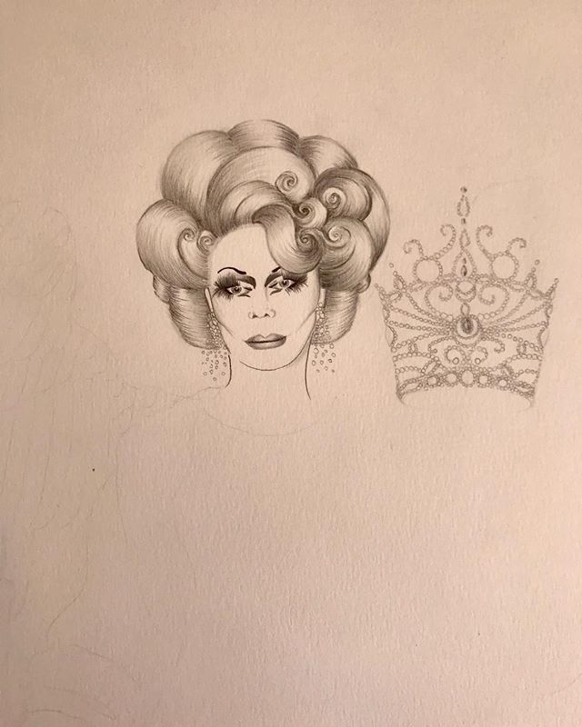 WIP ~ my angel, my queen, forever muse Flawless Sabrina ~ your witchy goddess presence is missed on this planet 💔 • • • • • #motherflawlesssabrina #jackdoroshow #legend #icon #thequeen #illustration #drag #dragqueen #queerart #drawing #workinprogress #art