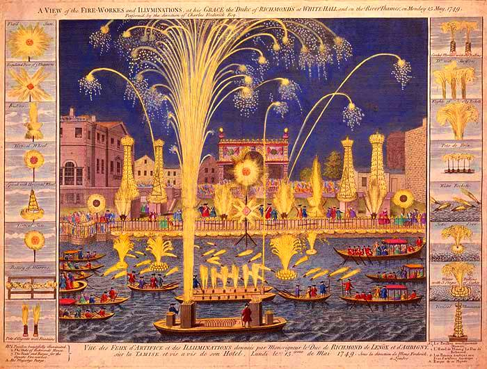 A VIEW of the FIRE-WORKES and ILLUMINATIONS at his GRACE the Duke of RICHMOND'S at WHITEHALL and on the River Thames on Monday 15 May 1749.