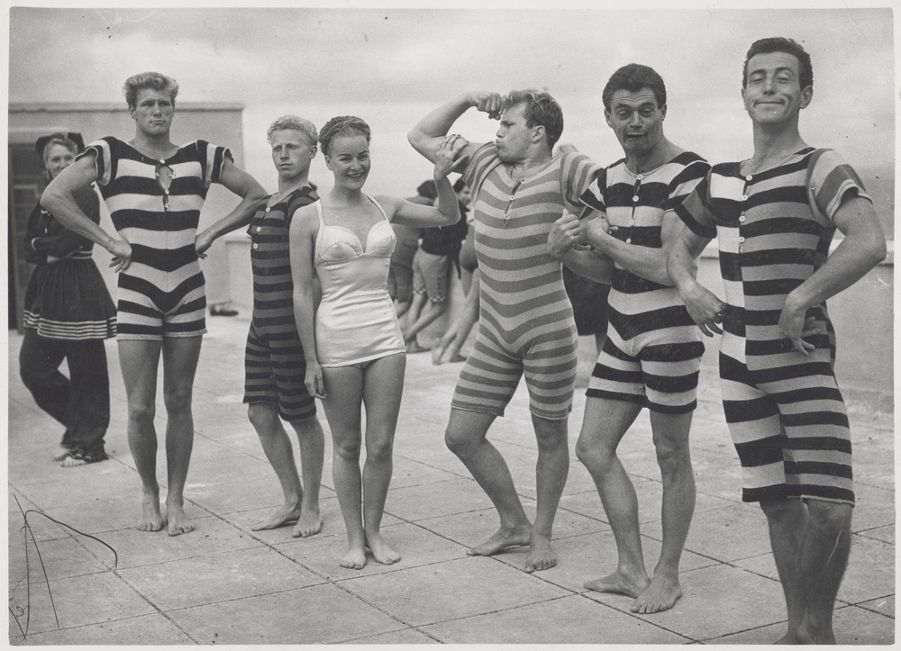 Period swim and beach wear ca. 1945-1950, from the State Library Victoria; gelatin silver photograph