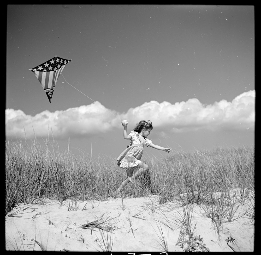 "A fun thing to do in Clearwater whether at the beach or park - kite flying!   Toni Frissell, Toni Frissell's daughter Sidney as ""The Wind"" in A Child's Garden of Verses, Southhampton, Long Island, 1944, nitrate negative [ Source ]"