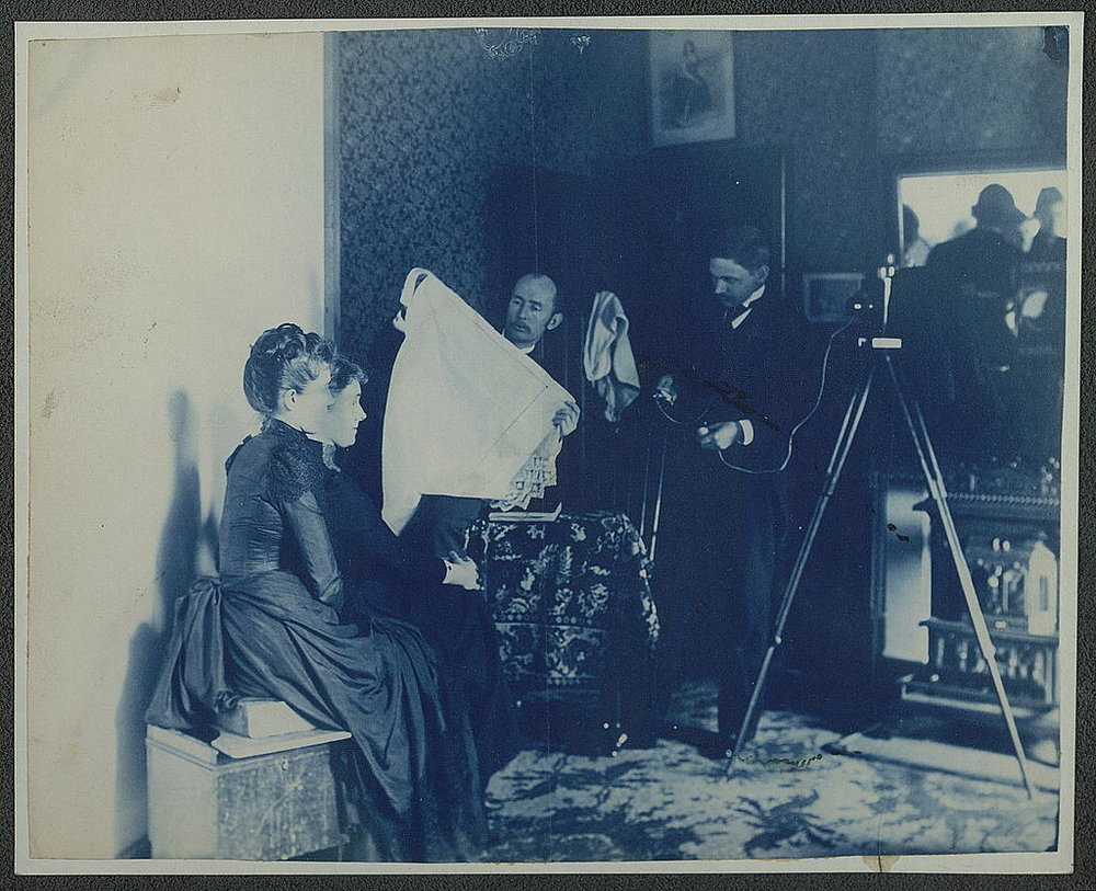 A family portrait photographer of 1890.  Frances Benjamin Johnston, Two unidentified women being photographed, 1890, cyanotype [Source]