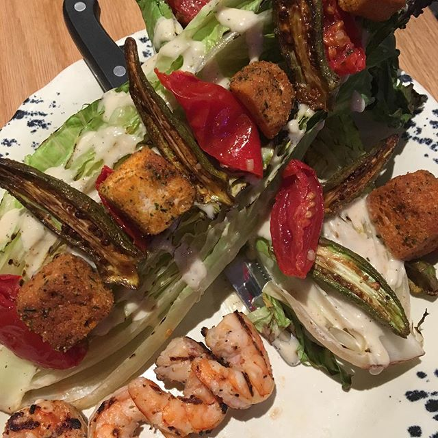 Your new favorite salad!  #delicious #caesarsalad #grilledromaine #trickyfish #richardsontx #richardsonliving #richardsoneats #dinecityline #citylinedfw