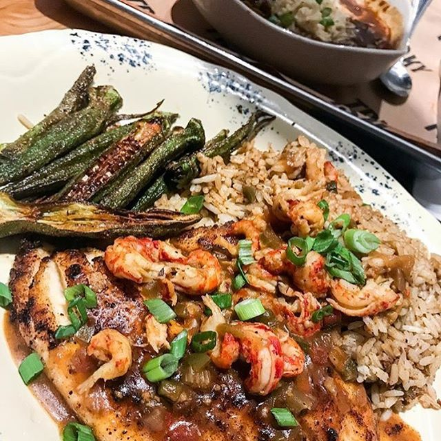 Our name-sake dish... the Tricky Fish! 📸cred: @eatwithchrystal  #trickyfish #dinecityline #dallsfoodies #richardsonfoodies #richardson #richardsontx #tricky #salmon #redfish #tilapia #crawfish #okra #dirtyrice #delicious