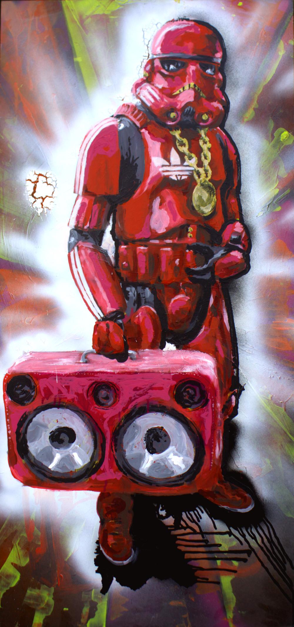 Tribe called R.E.D. acryl on 55 x 120 woodfibre 2016 Budapest 55x120cm  125'000 HUF