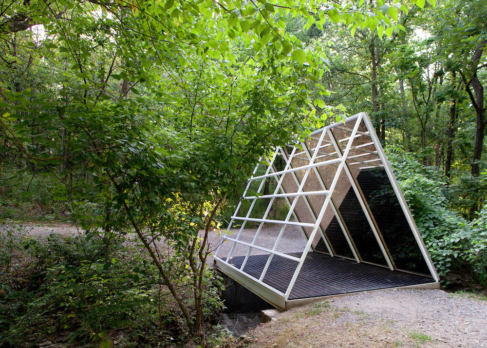 "Dan Graham, ""Triangular Bridge Over Water,"" 1990; Photo by Kevin J. Miyazaki"