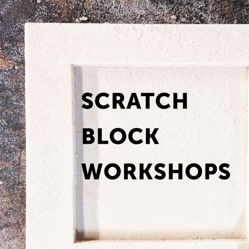 """Community Scratch Block Workshop - Wednesday, January 30, 2019between 5:30 p.m. and 8:00 p.m. 6""""x6"""" / $208""""x8"""" / $25"""