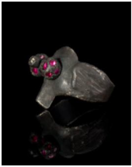 Ring 2411, 2002: Oxidized sivler, rubies, and diamond.