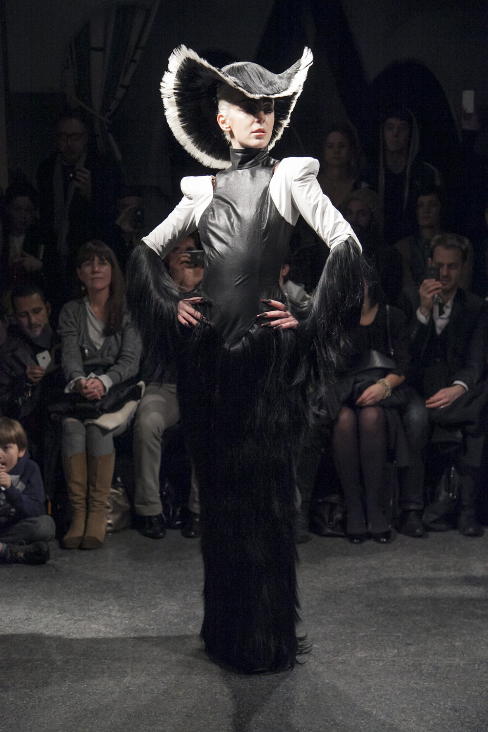 "Black and White Hat , ""Metal Queen"" Spring/Summer 2013, Synthetic Hair, Plastic"