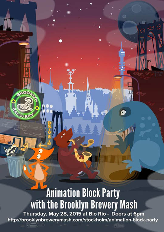 Animation Block Party appeared at the  Stockholm Mash  on Thursday, May 28 2015 as part of the Brooklyn Brewery Mash international tour.