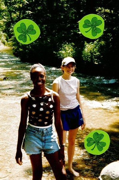 Alabama Folk School Director, Lisa Marie Ryder (right), on Bear Creek at Waycross Episcopal Camp & Conference Center. Summer 1997