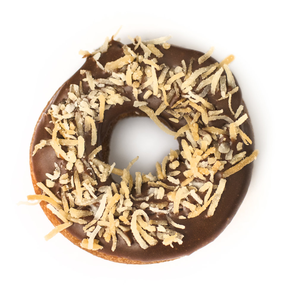 donut with toasted coconut on top