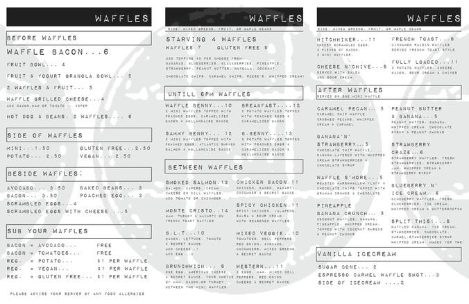 Starving Artist official menu
